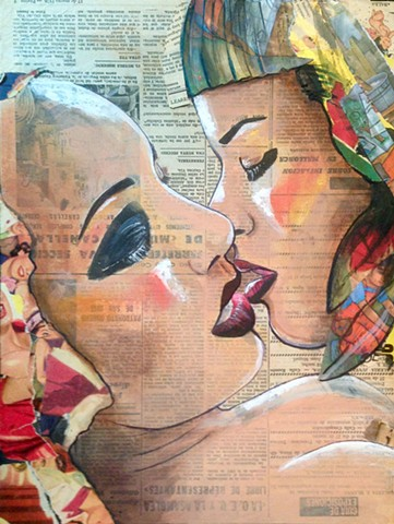 Portrait of two women kissing