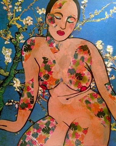Nude portrait of woman with floral motif.