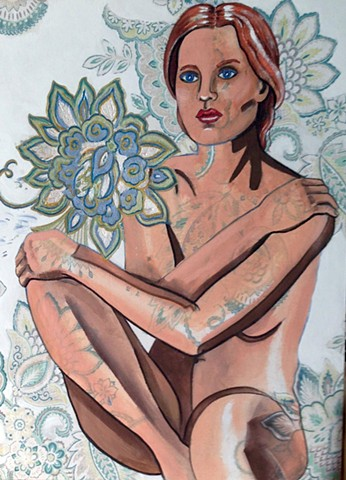 Potrait of nude woman with floral.