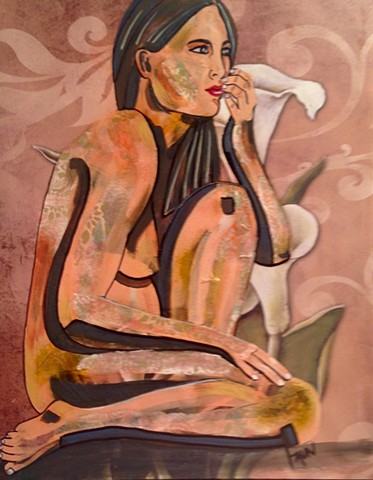 Nude woman with lily motif