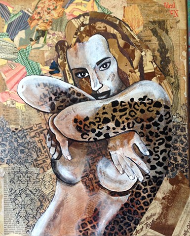 Portrait of a woman with animal print.