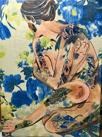 Blue Floral with Nude