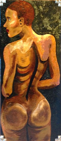 Portrait of a black nude from back view