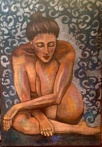 Nude portrait of a womn on burlap.