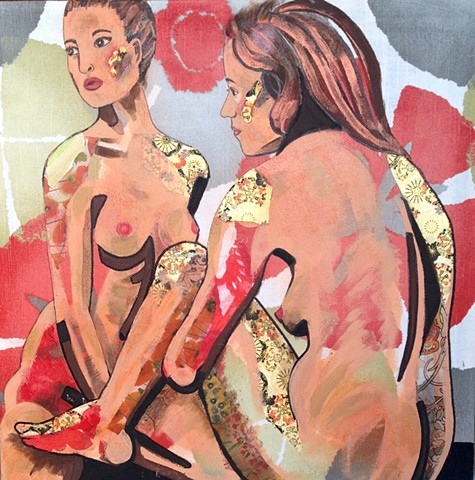 Two nude women in shades of light red and light green with tattoo imaging