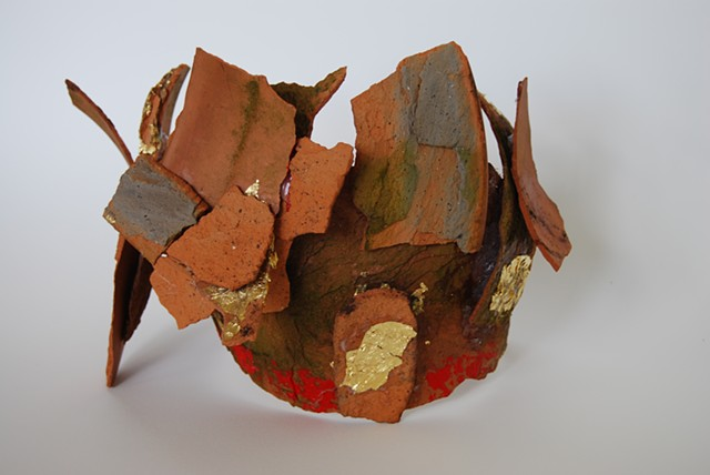 Imperial crown of a forgotten king. Pottery shards, acrylic paint and gold leaf.