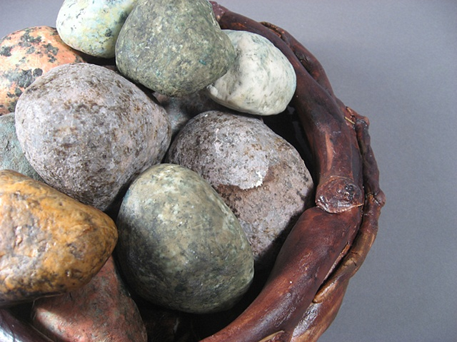 Stone basket close up