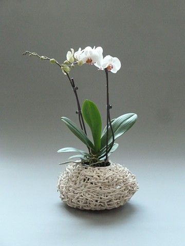 White Basket with Orchid