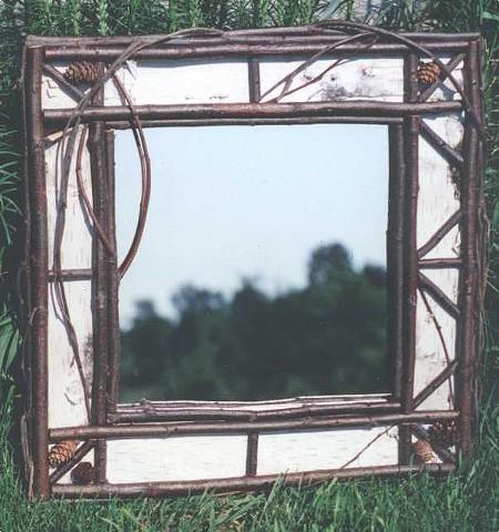 """Birch Bark & Natural Twig 18"""" Mirror. $95"""
