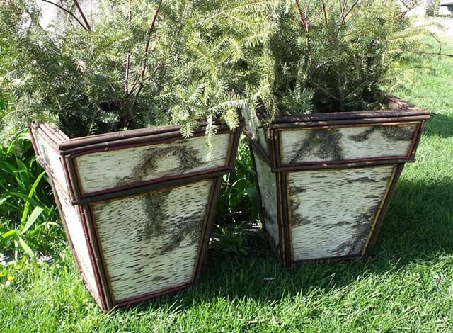 "Birch Bark & Twig 20""h Planters"