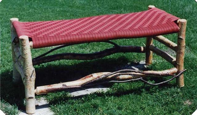 Birch Frame, Woven Red Shaker Tape Seat Fireside Bench