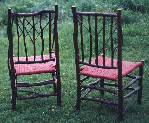 Alder Side Chairs - Backs Red Woven Shaker Tape Seats