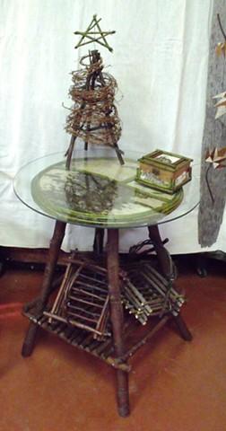 "Alder Table 24""h, Twig Tree, Memory Box & Twig Baskets"