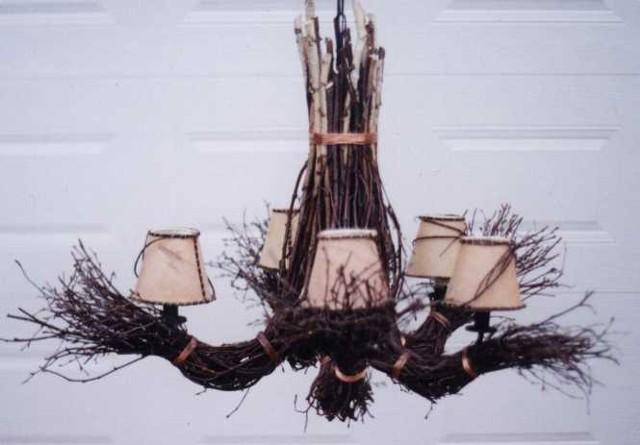 Birch Twig Chandelier, Birch Bark Lampshades