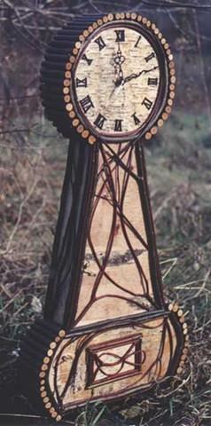 Birch Bark & Twig Banjo Clock