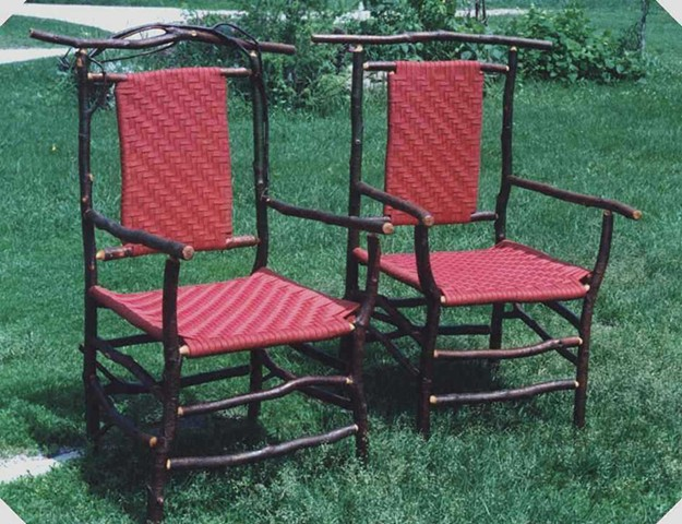 Alder Arm Chairs Woven Red Shaker Tape Seats