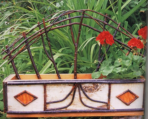 Birch Bark & Twig Window Box