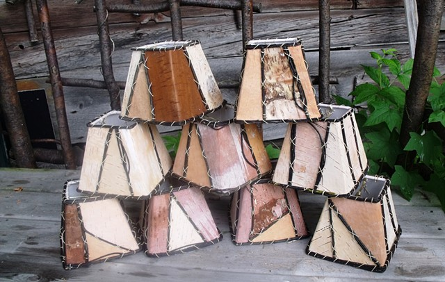 Birch Bark 3,4,5 Square Lampshades