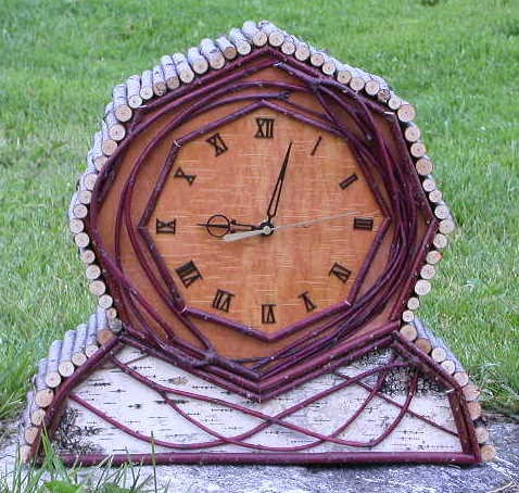 Birch Bark & Twig Mantle Clock