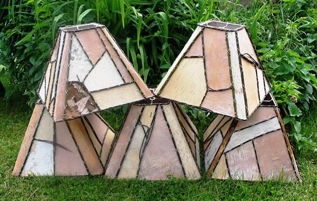 Birch Bark 5,14,11 Square Lampshades