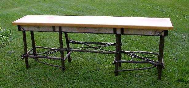 Alder Table, Birch Bark Edge, Pine Top