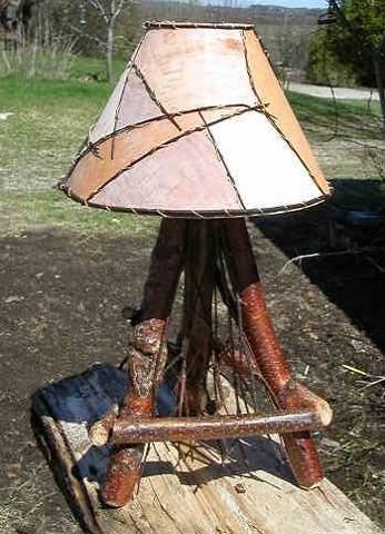 Birch Accent Lamp, Birch Bark Shade