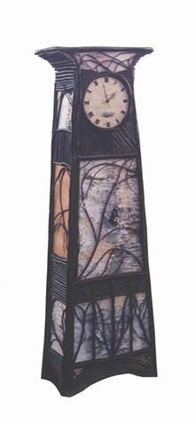 Birch Bark & Twig Grandfather Clock