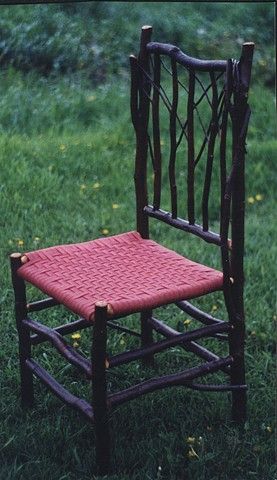 Alder Side Chair Red Woven Shaker Tape Seat