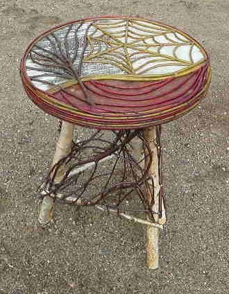 "Round Table Mosaic Birch Bark & Natural Twig Spider Web Design - 24"" h"