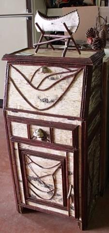 Birch Bark & Twig Secretariat Desk, 1 Door