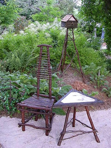 Twig Side Chair, Alder & Birch Side Table, Birch & Twig Bird House