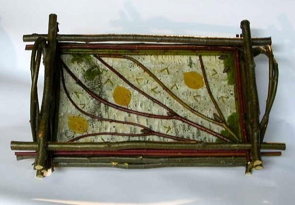 Mosaic Birch Bark & Natural Twig Serving Tray