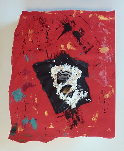 MIX 2017  #8 Agate shards, homemade caulk, and painted Canson paper on shipping box  2017