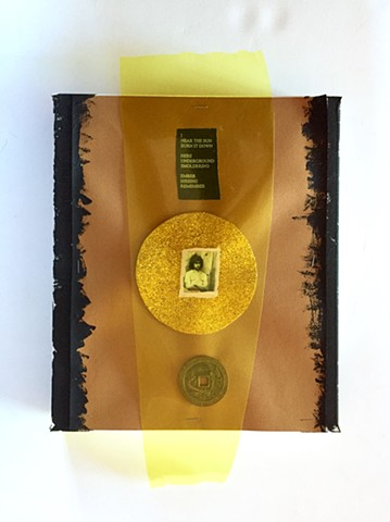 PETERS  #11 Mixed media with yellow transparency, Chinese coin and original poem 18 x 10.5 x 2 inches  2017