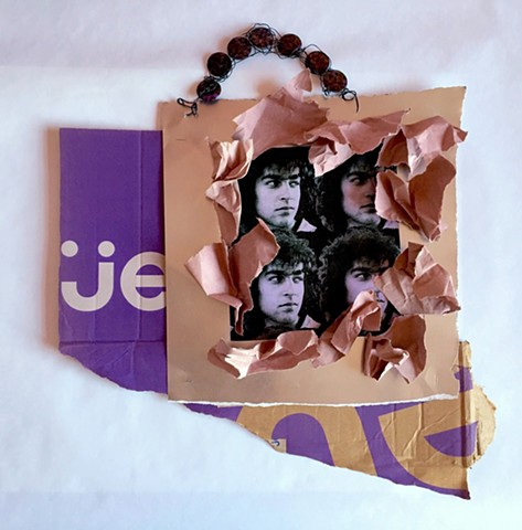 PETERS   #2 Peter on gold metallic cardstock, paper, and torn carton with beaded gemstone hanger  20 x 23 inches  2017