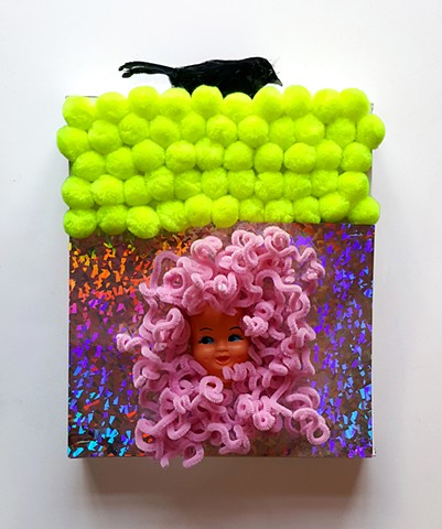 POM POMS   #8 Mixed media with doll face 13 x 11 x 2 inches  2017