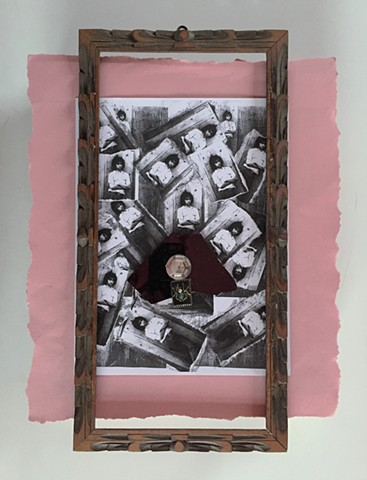 PETERS  #12 Mixed media with found frame and insect brooch  16 x 12 x 2 inches  2017