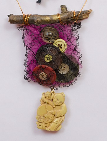 "INSPIRED BY JOSEPH CORNELL ""Brooklyn Twig With Vintage Buttons & Buddha Dangle""  Detail"