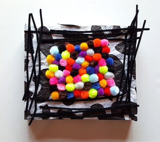 POM POMS   #6 Mixed media with black pipe cleaners 11 x 15 x 2 inches  2017
