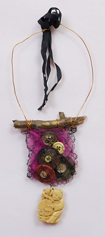 "INSPIRED BY JOSEPH CORNELL ""Brooklyn Twig With Vintage Buttons & Buddha Dangle"""