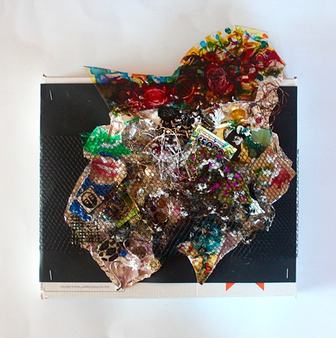 MIX 2017  #1 Netting over various beads and assorted tchotchkes with painted plexiglas top on shipping box 13 x 14 inches  2017