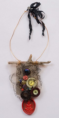 "INSPIRED BY JOSEPH CORNELL ""Buttons & Beads With Red Buddha Dangle"""