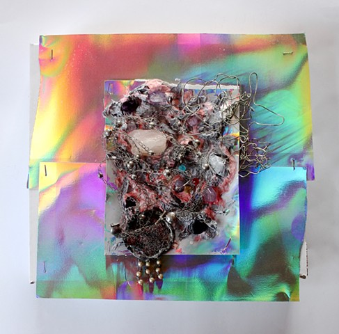 MIX 2017  #7 Rose quartz, amethyst, minerals, beads, wires with holographic cardstock on shipping box  2017