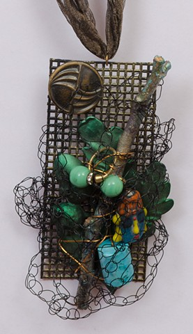 """INSPIRED BY JOSEPH CORNELL """"Painted Brooklyn Twig & One Vintage Button"""" Detail"""