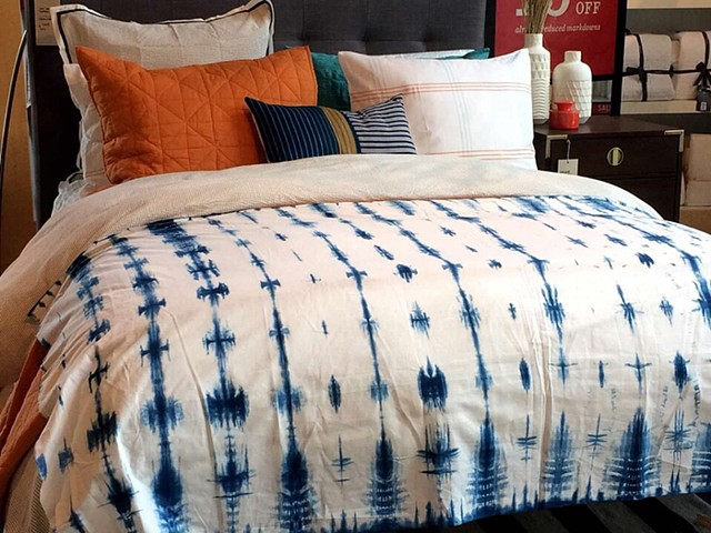 Indigo dyed cotton shibori duvet cover, West Elm, Charlotte, NC, 2015