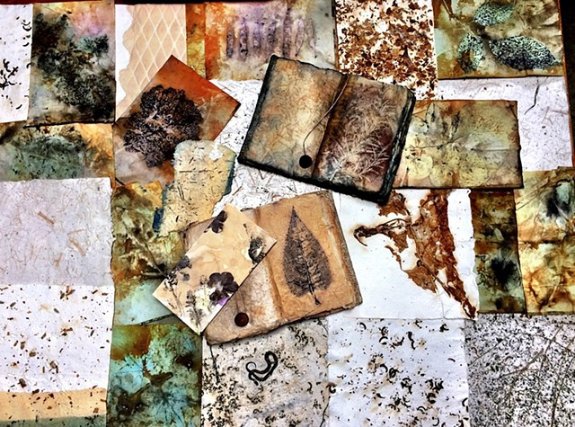 Handmade papers created with raw agricultural materials, abaca and cotton pulp.  Botanical contact prints created with leaves, agricultural raw materials and flowers.  Natural botanical pigments for staining and painting.