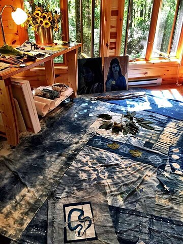 Works in progress, studio time.  2016 Paintings, indigo dyed fabrics and cyanotype on fabric.