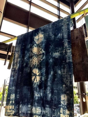 Indigo dyed wall hanging, West Elm, Charlotte, NC,  2015