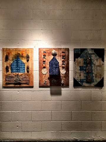The Big House, Triptych, 2018 Handmade papers, Indigo, natural dyes, cotton, linen, raw agricultural materials, recycled vintage book fabric and book covers, rust, hand stitching.