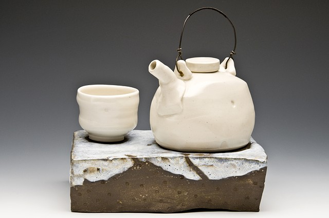 Cone 6 porcelian teapot, and cup, stoneware base with chun glaze
